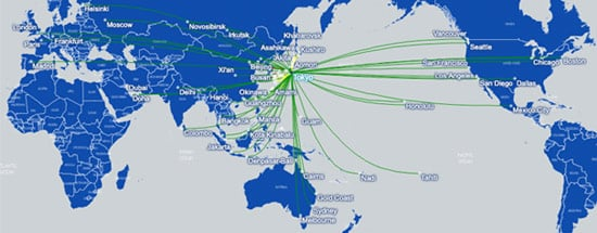 Japan Airlines mayo 2019 route map