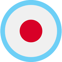 Japan round flag blue border