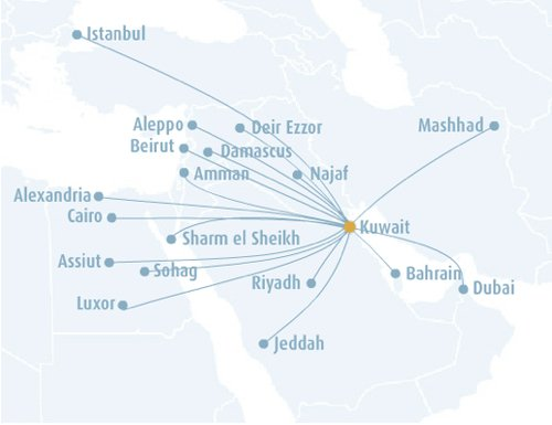 Jazeera Airways Route Map centered on the Middle East