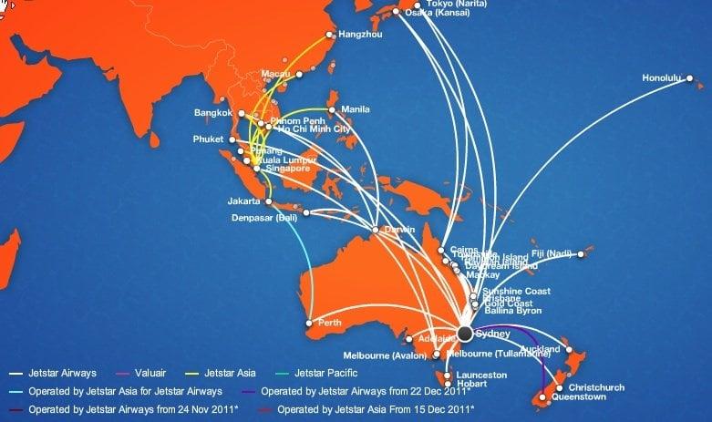 JetStar Route Map