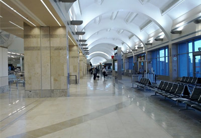 Inside the terminal at John Wayne Airport