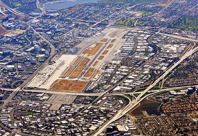 John Wayne Airport Runway Aerial View