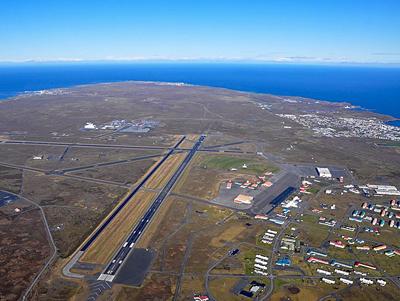 Birds eye view of KEF showing two runways