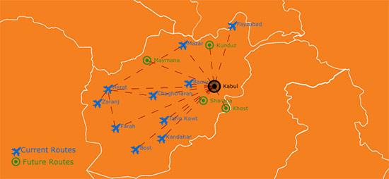 Kam Air Route Map