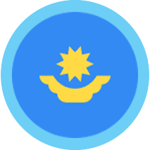 Kazakhstan round blue border