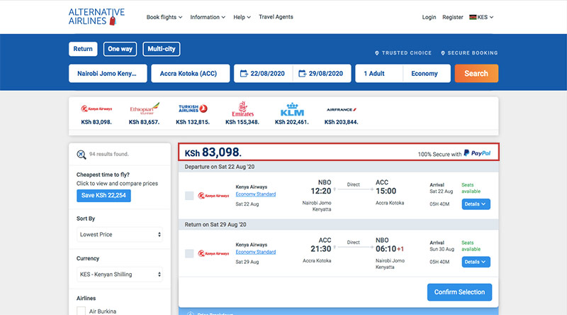 Alternative Airlines Kenyan shilling search results page