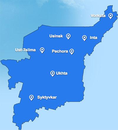 Komiaviatrans route map