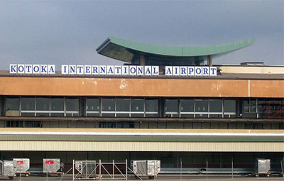 Outside of Kotoka International Airport from the front