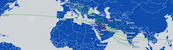 Kuwait Airways route map centred on the Middle East