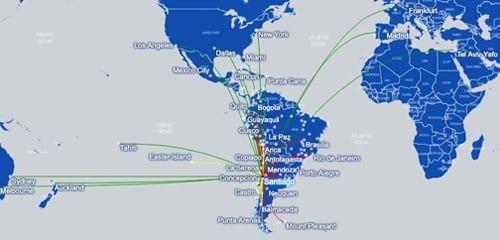 LATAM Airlines Route Map May 2019