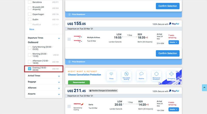 Alternative Airlines Flight Search Results LGW to BER - 23/03/21 - 1 Adult - Evening Flight Filter