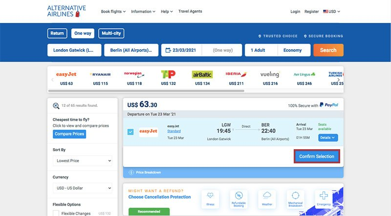 Alternative Airlines Flight Search Results LGW to BER - 23/03/21 - 1 Adult - easyJet Flight Selected