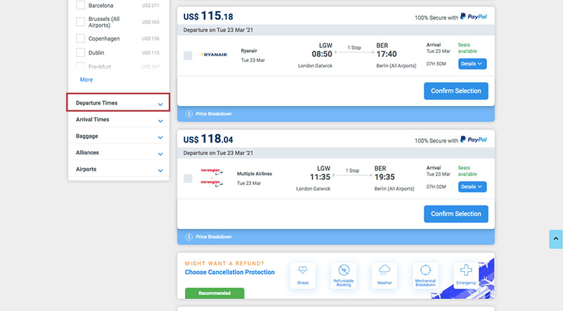 Alternative Airlines Flight Search Results LGW to BER - 23/03/21 - 1 Adult - Departure Time Filters
