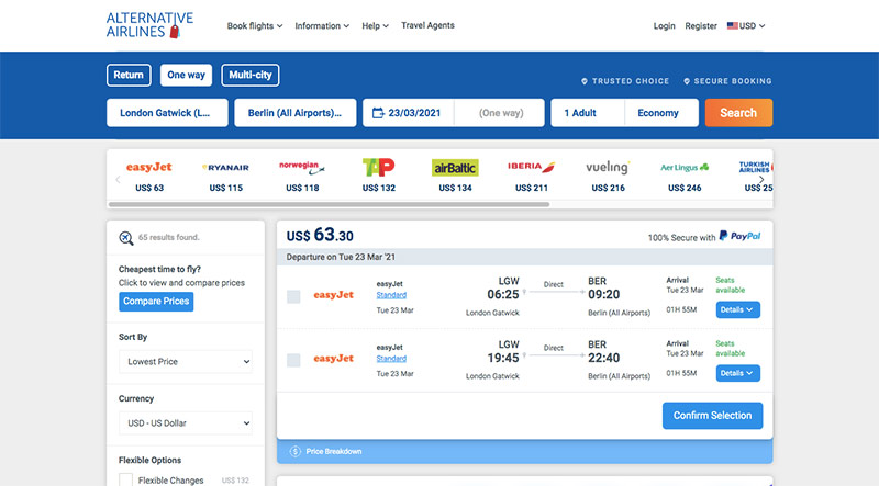 Alternative Airlines Flight Search Results LGW to BER - 23/03/21 - 1 Adult