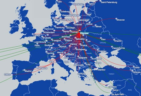 LOT Europe Polish Airlines route map may2019