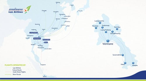lao airlines route map