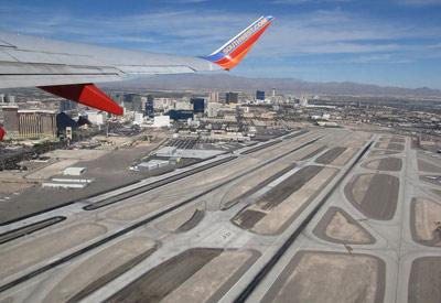 Aerial view of Las Vegas International McCarran Airport runway