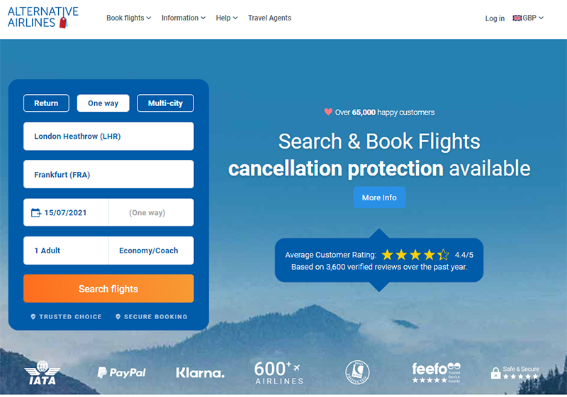 Alternative Airlines search bar with London to Frankfurt selected