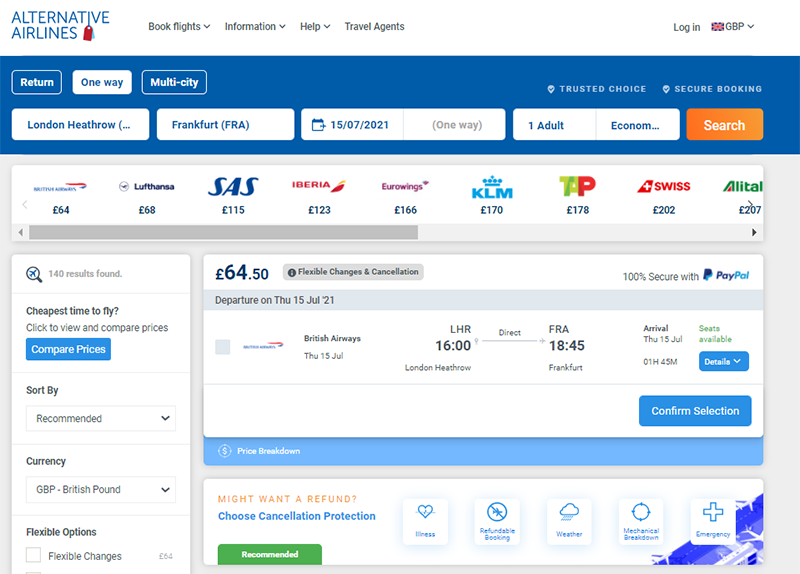 Alternative Airlines flight search result from London to Frankfurt