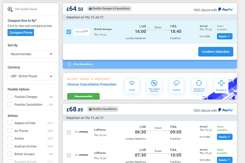 British Airways flight results for London to Frankfurt