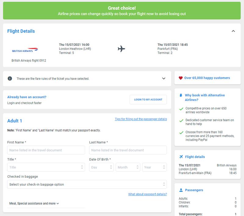 Alternative Airlines London to Frankfurt passenger details page