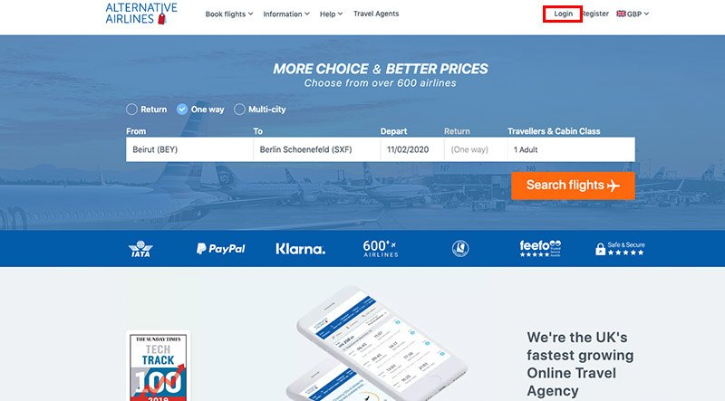 log in to my account on alternative airlines