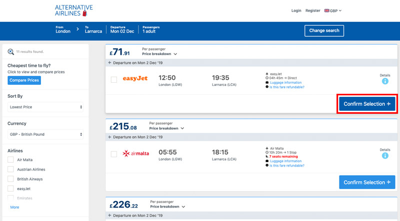 Step 2 select flight selection on results page