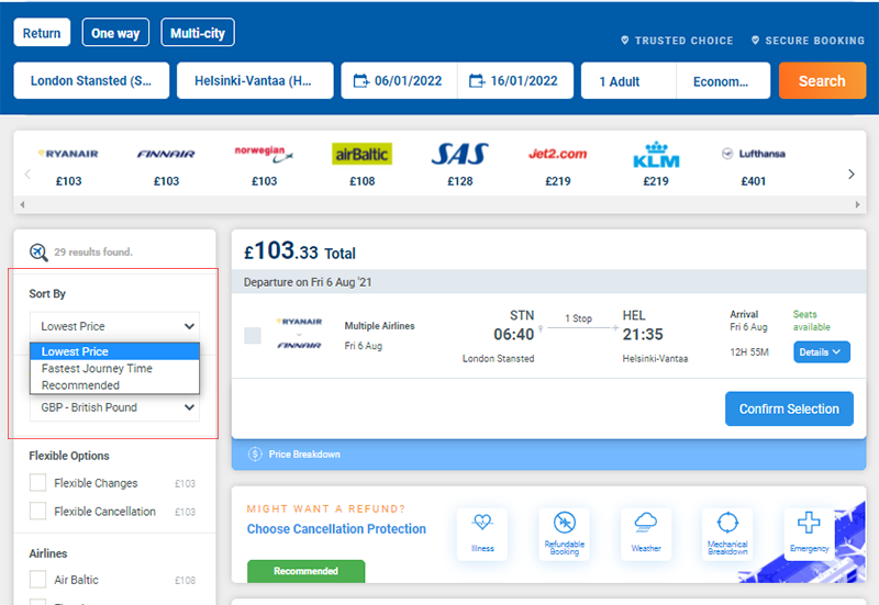 Sort by cheapest flight filter on Alternative Airlines search results (STN-HEL)
