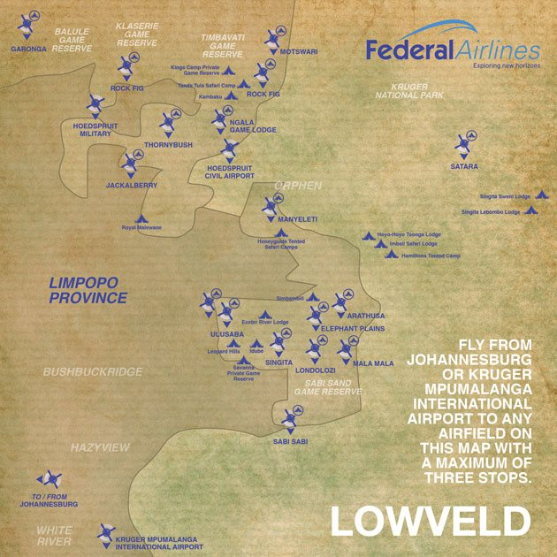 Federal Airlines Route Map Lowveld