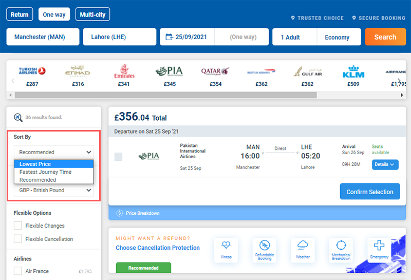 Sort by cheapest flight filter on Alternative Airlines search results (MAN-LHE)