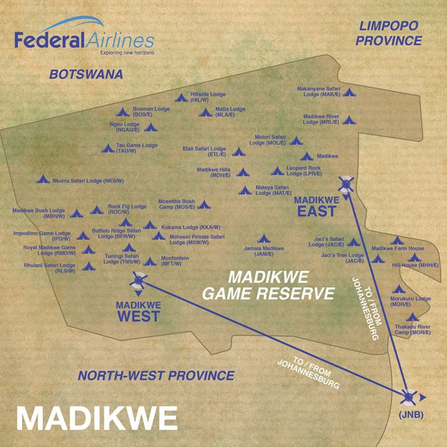Federal Airlines Route Map Madikwe