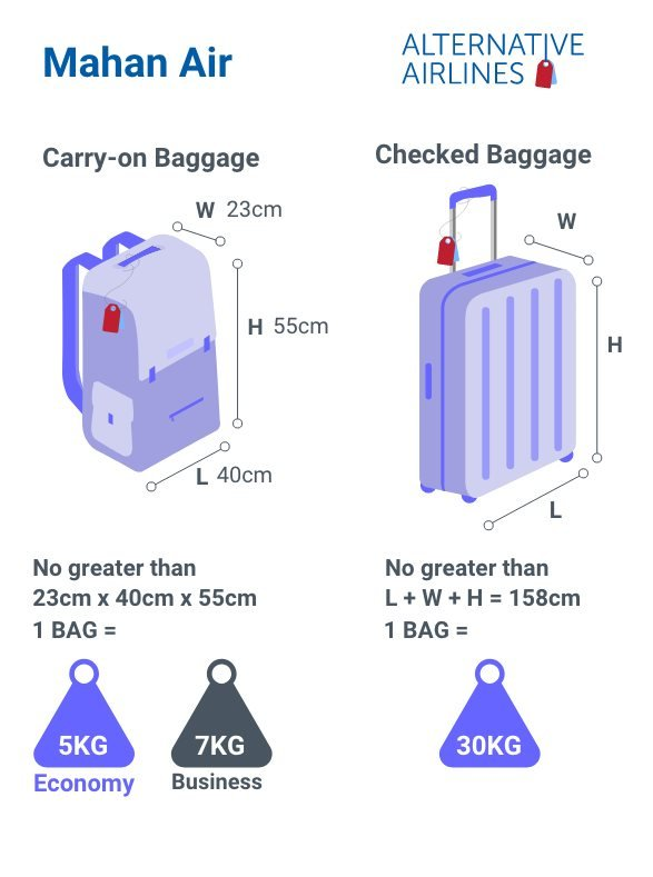 Mahan air Baggage Allowance and restrictions