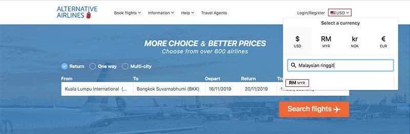Alternative Airlines currency changer Malaysian ringgit