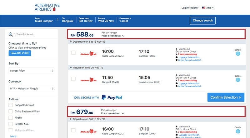 Alternative Airlines Malaysian ringgit search results page
