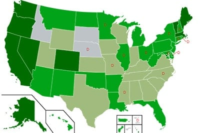 Map displaying states where cannabis is legal in the USA