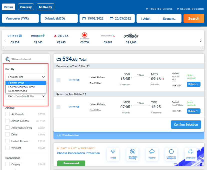 Sort by cheapest flight filter on Alternative Airlines search results (YVR-MCO)