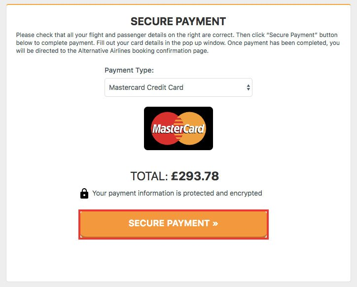 Select MasterCard as a payment method