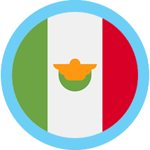 Mexican peso round flag blue border