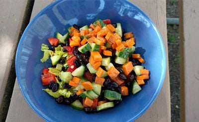 Mixed salad diced in a bowl
