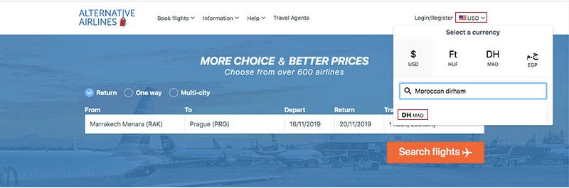 Alternative Airlines currency changer Moroccan dirham