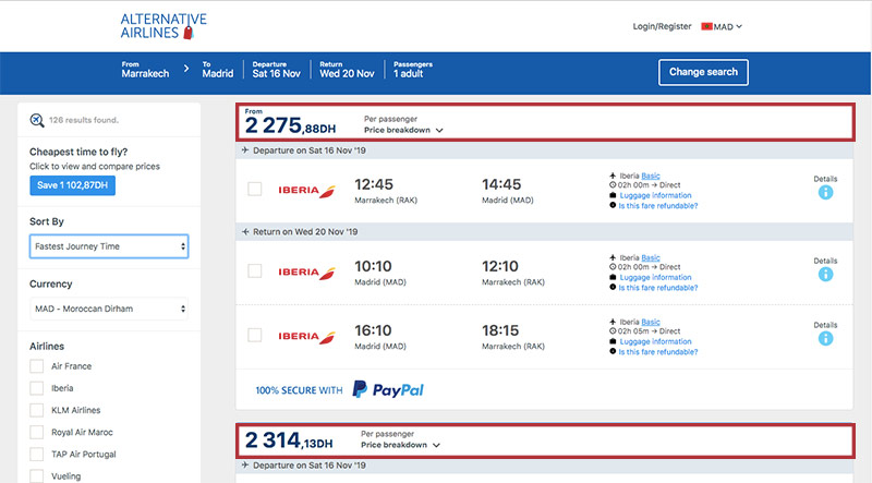 Alternative Airlines Moroccan dirham search results page