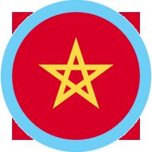 Morocco round flag blue border
