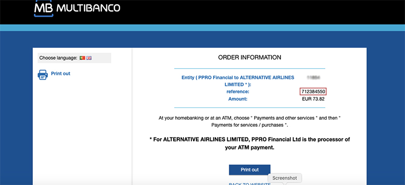 Multibanco Confirmation Page Alternative Airlines