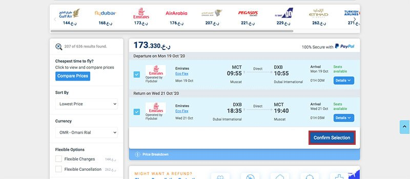 Alternative Airlines flight search results page with Emirates selected 19/10/20–21/10/20