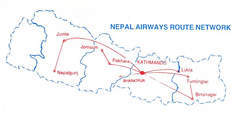 Nepal Airlines route map