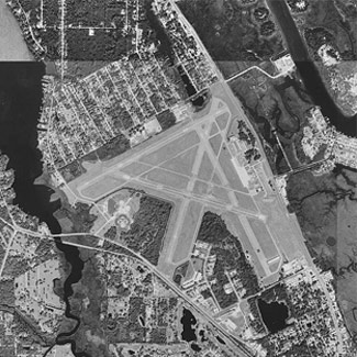 Aerial view of New Smyrna Airport black and white
