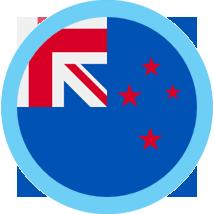 New Zealand round flag blue border
