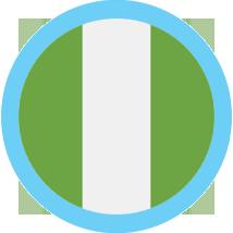 Nigeria flag round blue border