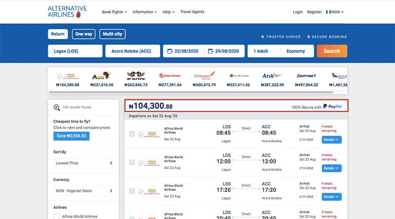 Alternative Airlines Nigerian naira search results page