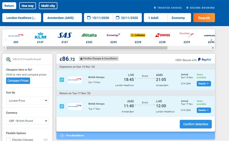 Search result selected flight LHR to AMS